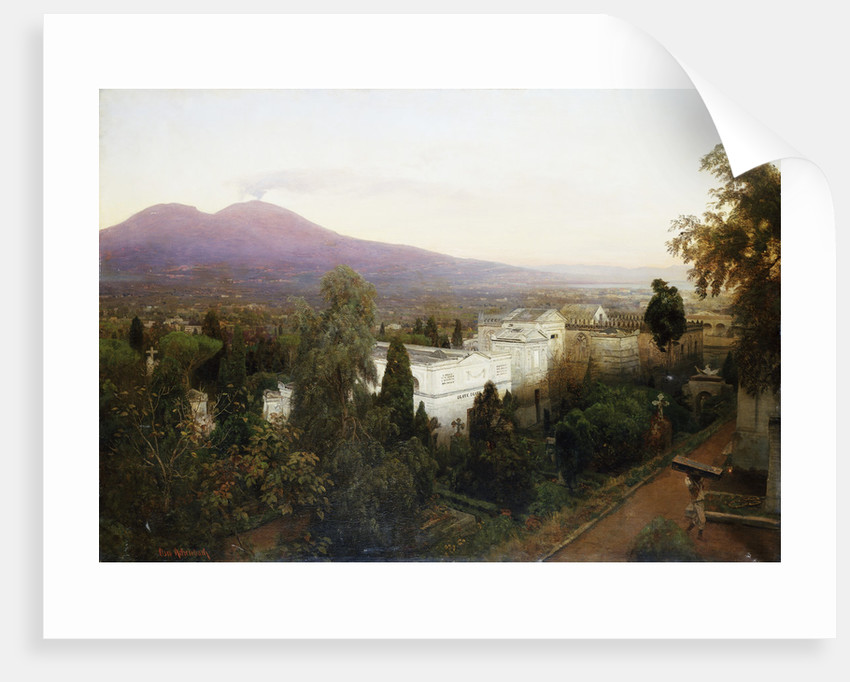 A Neopolitan Cemetery with Vesuvius Beyond by Oswald Achenbach