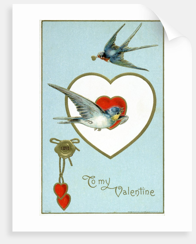 to my valentine postcard with swallows posters prints by corbis
