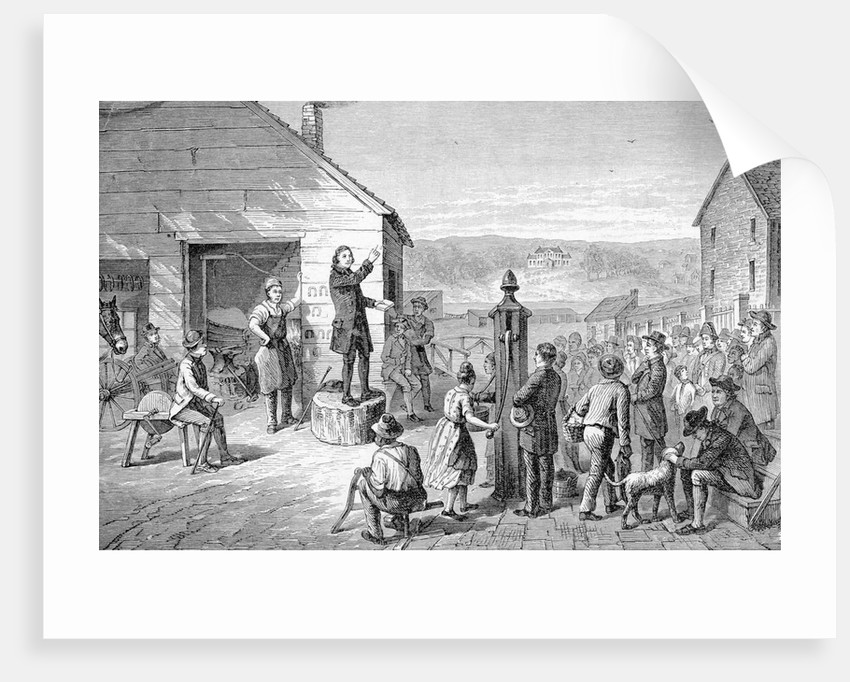Engraving of the First Methodist Sermon in Baltimore by Corbis