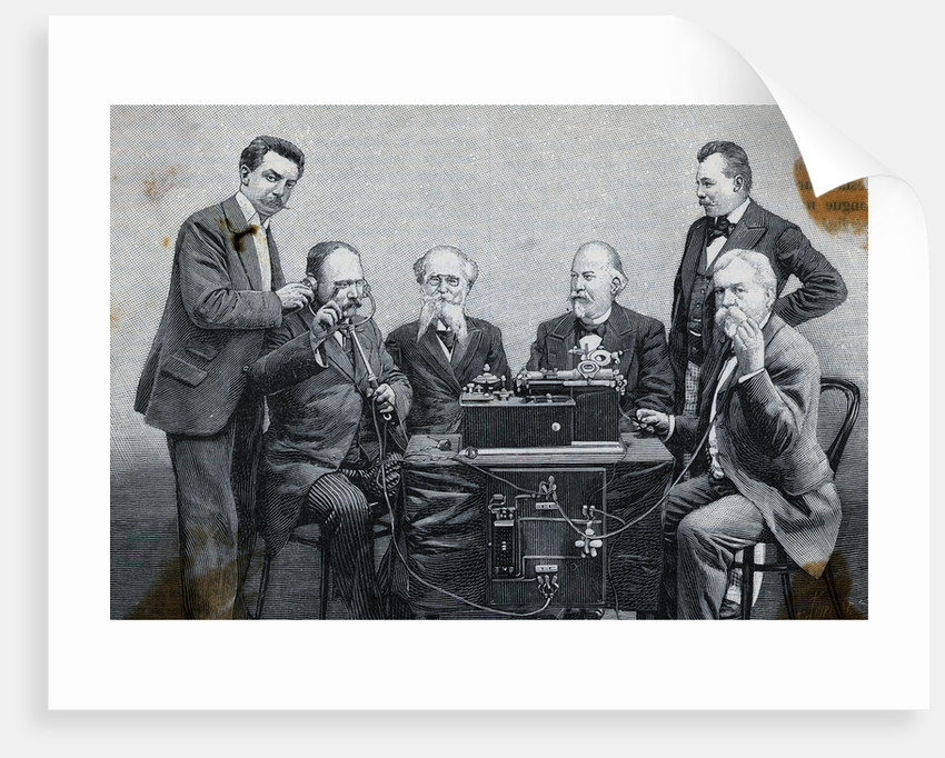 Woodcut Depicting M. Jaubert Experimenting with Microphonograph by Corbis