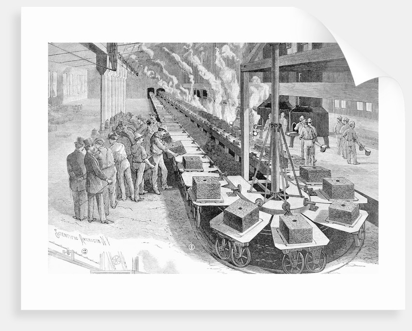 Engraving of Early Westinghouse Assembly Line by Corbis