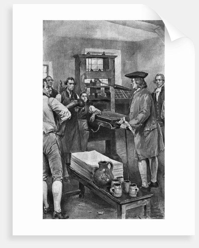 Benjamin Franklin Offering Advice to Printers by Corbis