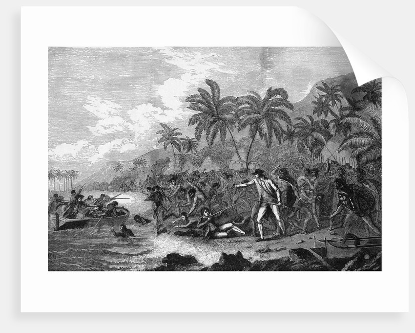 Illustration of the Death of Captain James Cook by Corbis