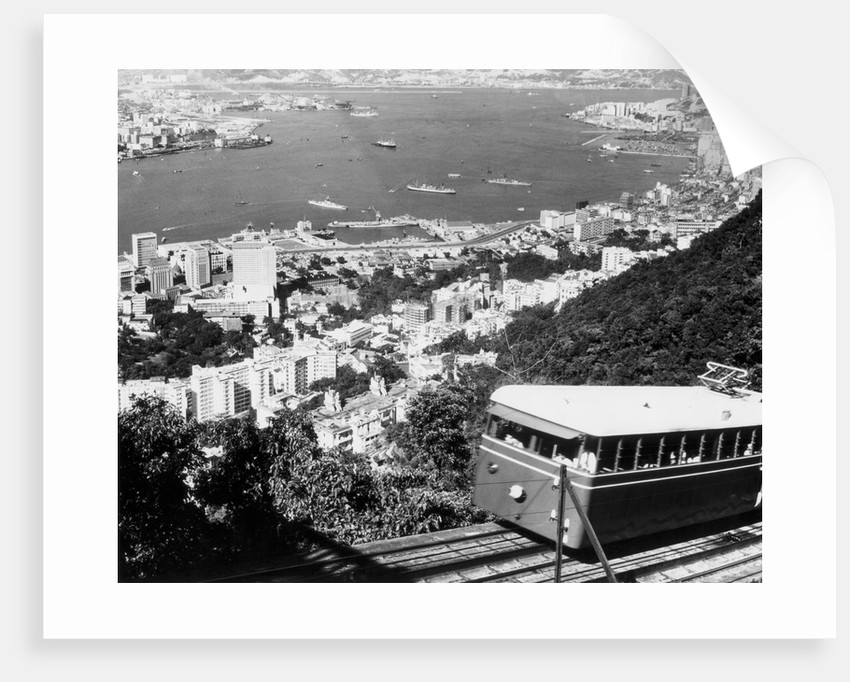 Peak Train With Hong Kong In Foreground by Corbis