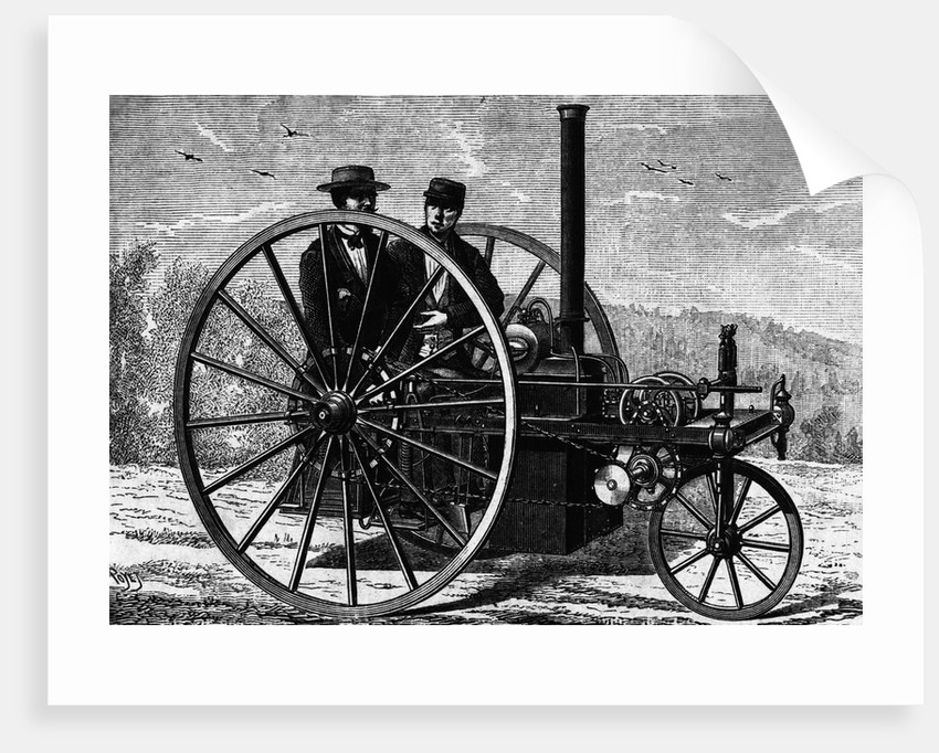 Engraving of a Steam Operated Automobile by Corbis