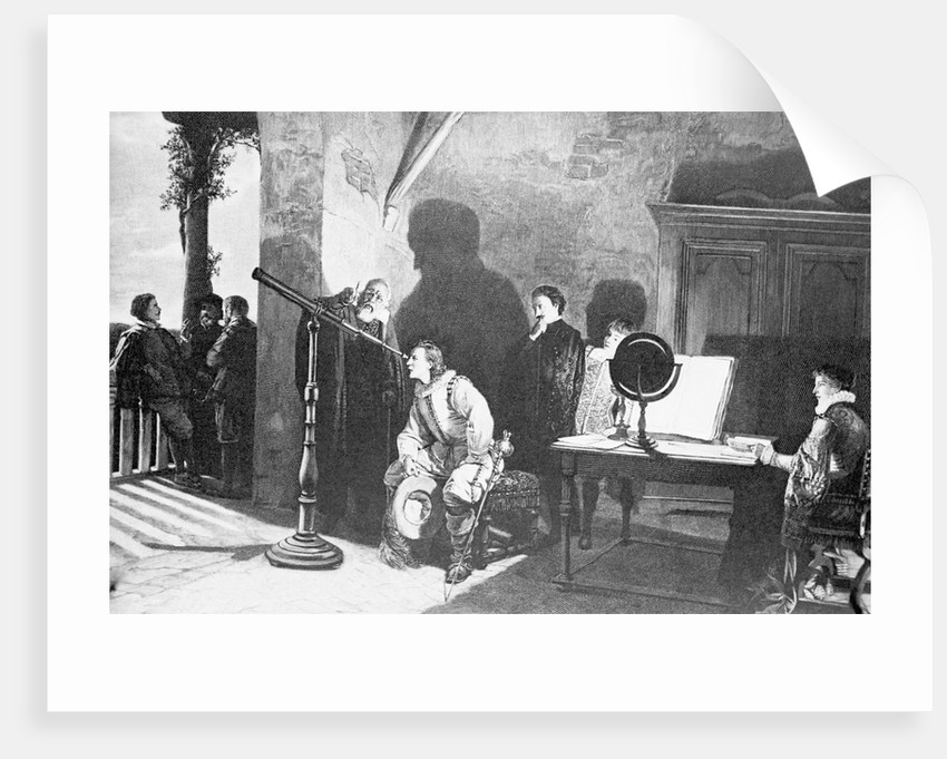 Painting of Galileo with Milton Looking Through a Telescope by Corbis