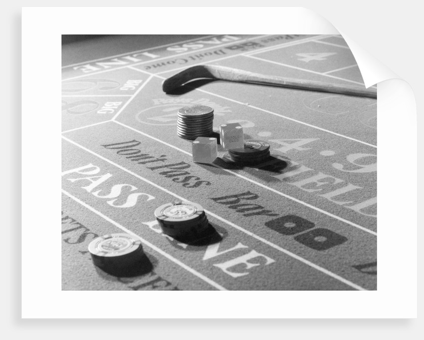 Chips & Dice on a Gambling Table by Corbis