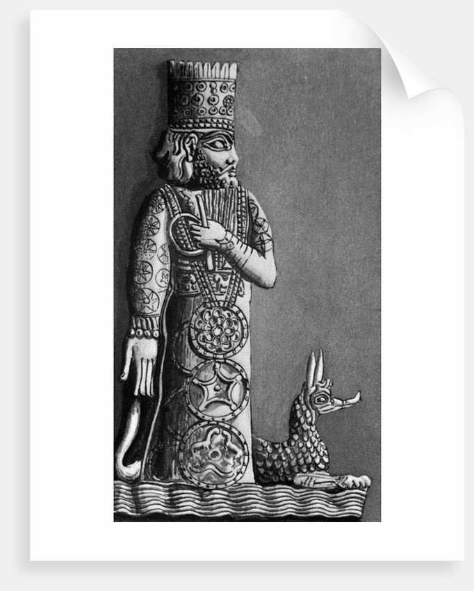 Illustration of Marduk, a Babylonian God, with a Dragon by Corbis