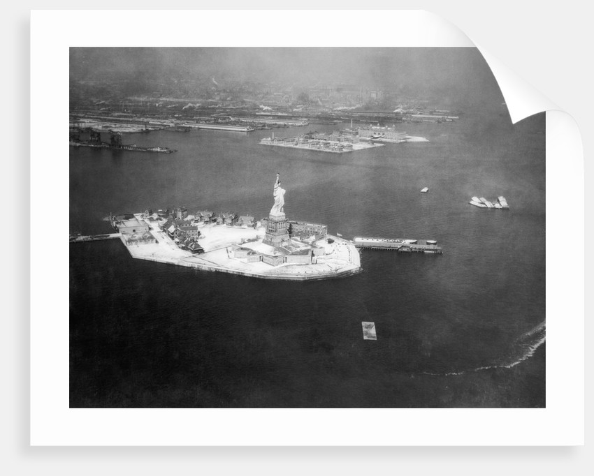 Aerial View Of Bedloe's and Ellis Islands by Corbis