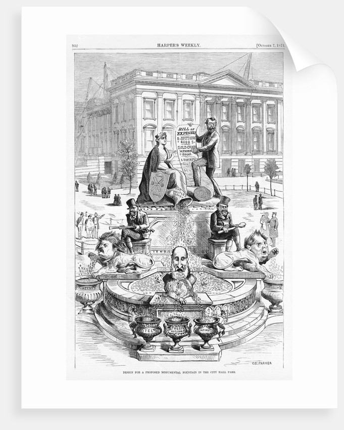 Design for a Proposed Monumental Fountain in the City Hall Park by Thomas Nast