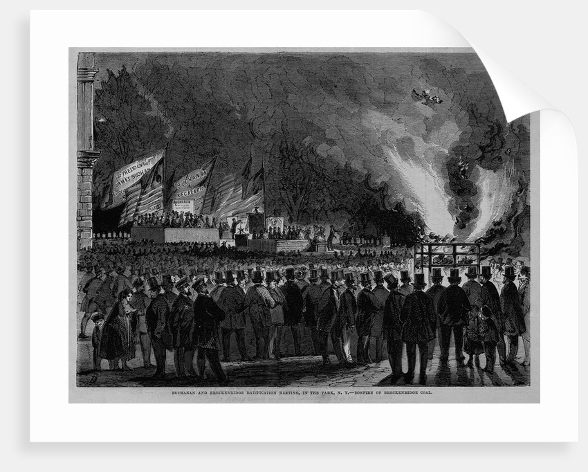Buchanan and Breckenrige Ratification Meeting, in the Park, N. Y., Bonfire of Breckenrige Coal by Corbis