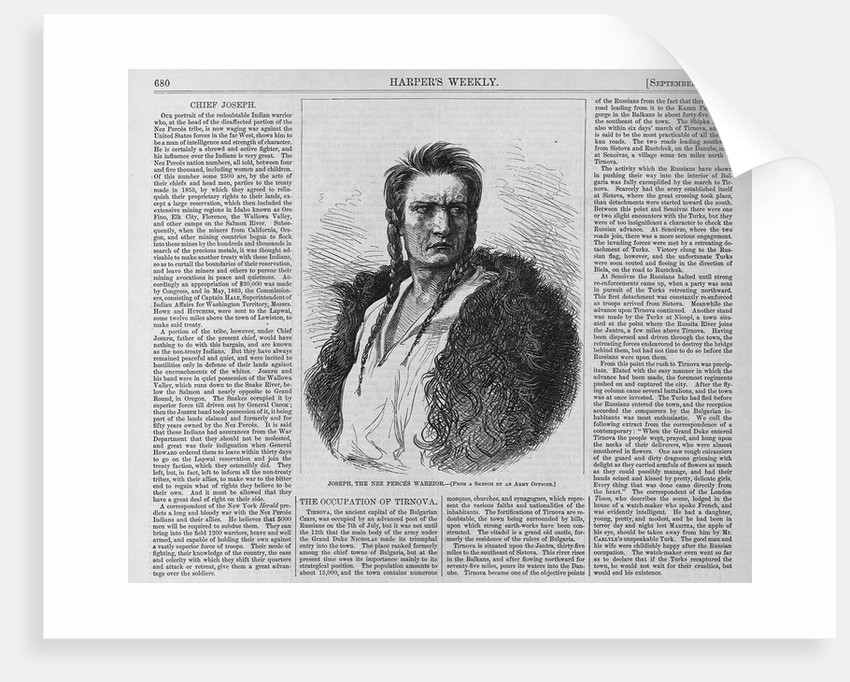 Text and diagram. Joseph, the Nez Perces warrior. From a sketch by Army Officer