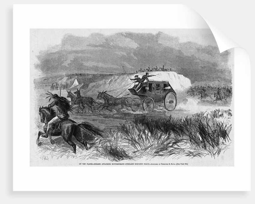 On the Plains - Indians Attacking Butterfield's Overland Dispatch Coach by Corbis