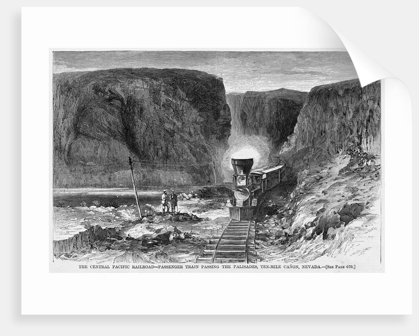 The Central Pacific Railroad - Passenger Train Passing the Palisades, Ten-Mile Canon, Nevada by Corbis