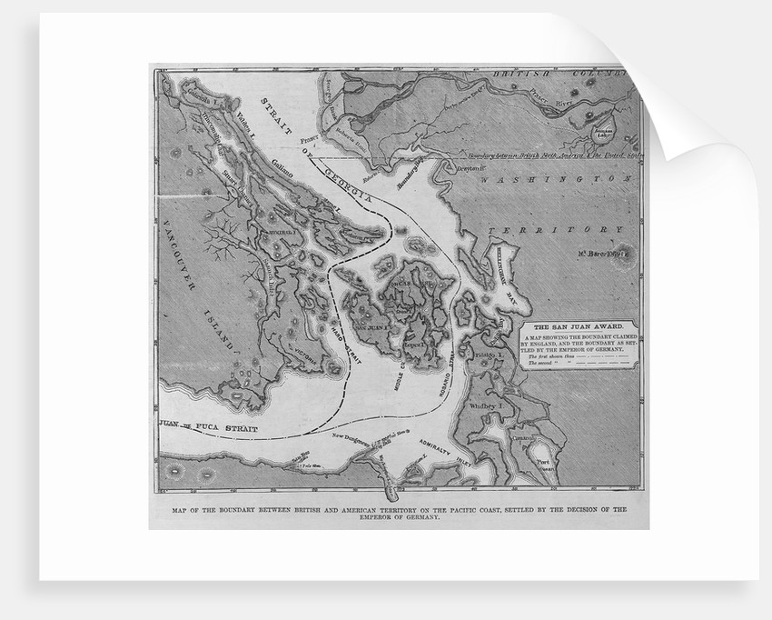 Map of the Boundary Between British and American Territory on the Pacific Coast, Settled by the Deci by Corbis