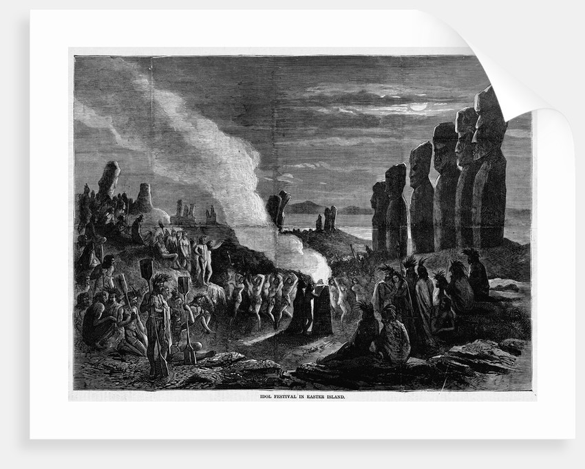 Page with text and diagram. Idol festival in Easter Island by Corbis