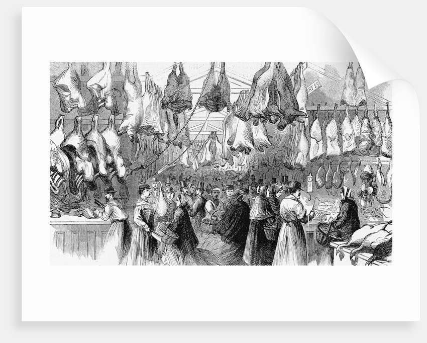 Christmas-Beef and Mutton in Washington Market, New York, 1865 by Corbis