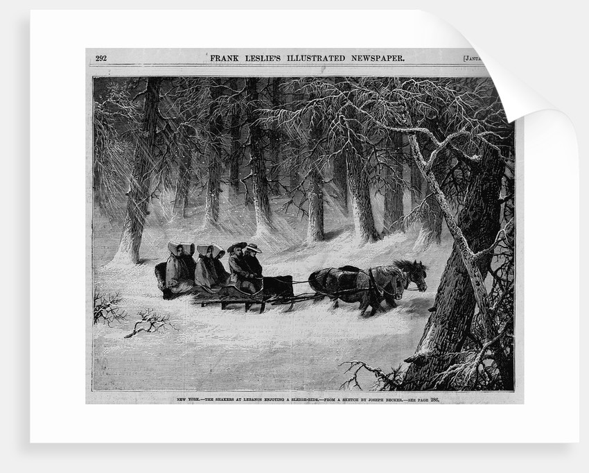 New York - The Shakers at Lebanon Enjoying A Sleigh Ride by Corbis