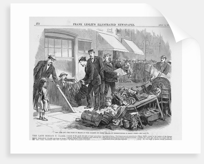 Newspaper Illustration Depicting New York City: The Board of Health at Work Clearing Out Filthy Cellars of Tenement Houses in Cherry Street by Corbis