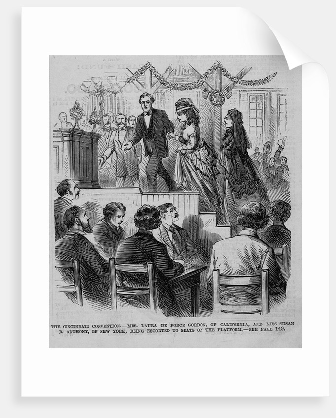 The Cincinnati Convention - Mrs. Laura De Force Gordon, of California, and Miss Susan B. Anthony, of New York, being escorted to seats on the platform by Corbis