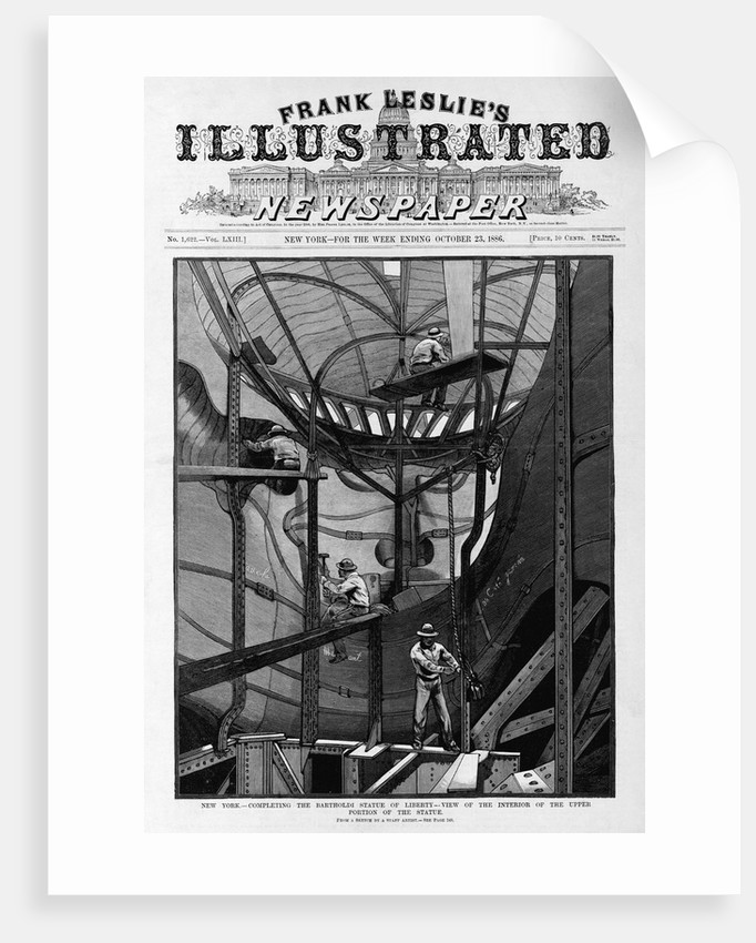 New York - Completing the Bartholdi Statue of Liberty - view of the interior of the upper portion of the statue. From a sketch by a staff artist. by Corbis