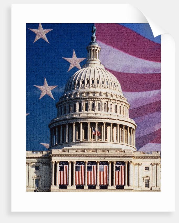 Flag Behind U.S. Capitol by Corbis