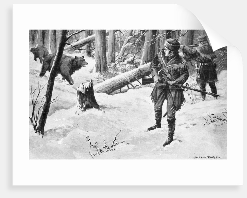 Painting of Lewis and Clark Attacked by Bears by Alfred Russell