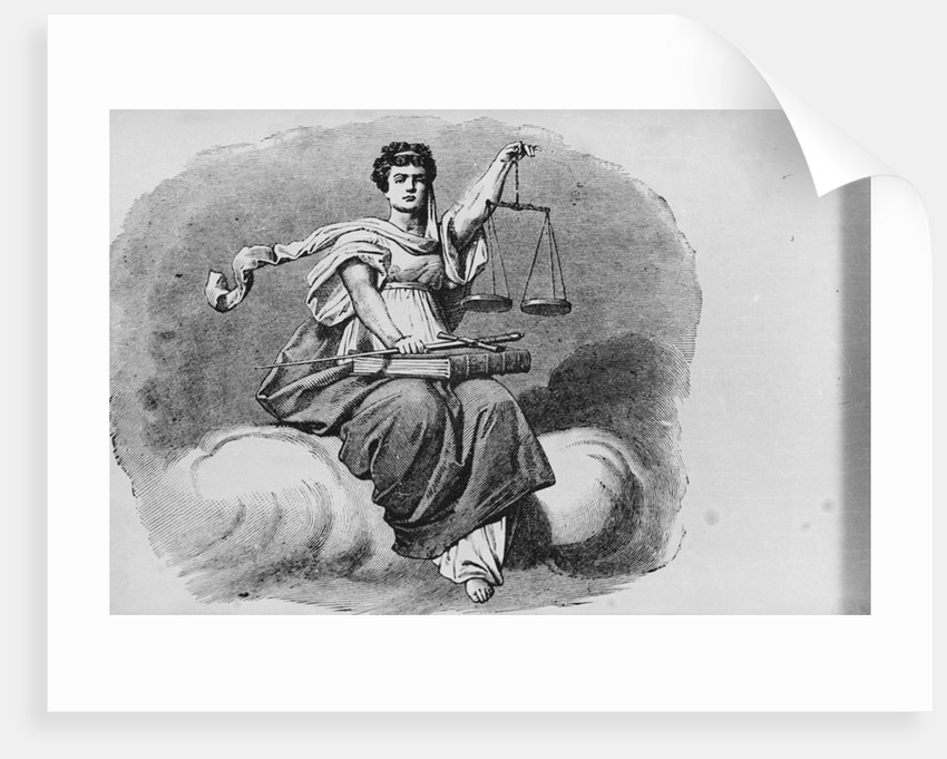Woodcut of Justitia, the Goddess of Justice by Corbis
