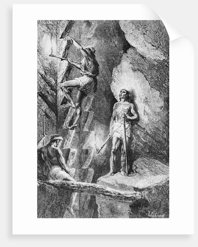 Mining Scene with Lamp for Excavating by Corbis