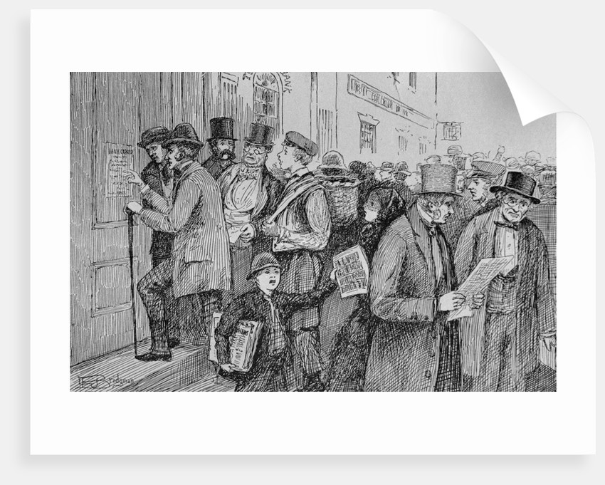 Illustration of the Closing of New York Banks, 1857 by Corbis