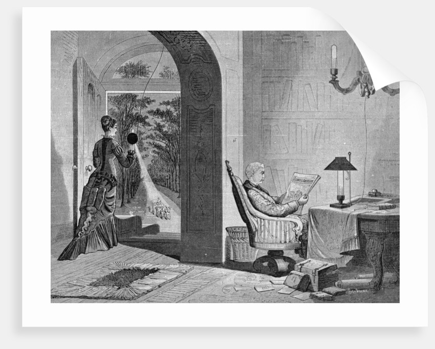 Couple at Home Using Sawyerman Electric Light by Corbis