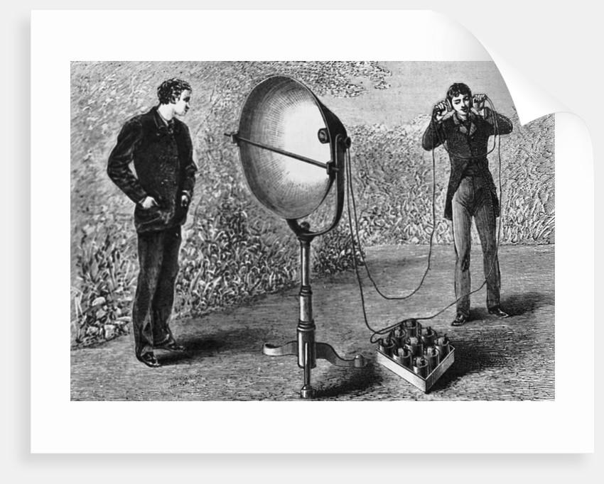 Illus/Men Experiment W/Photophone Receiv by Corbis