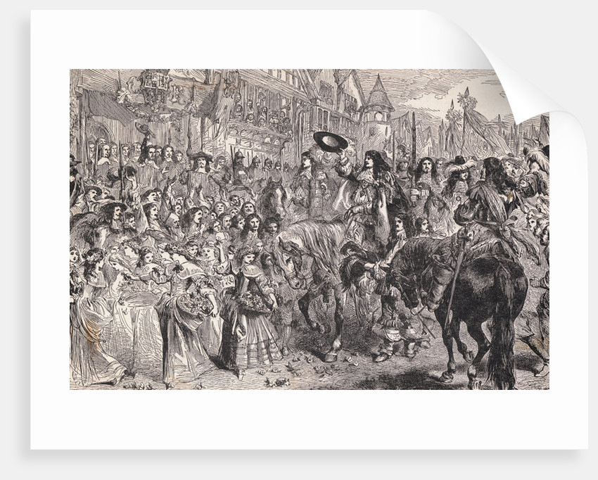 Charles II on Horseback Being Greeted by Citizens