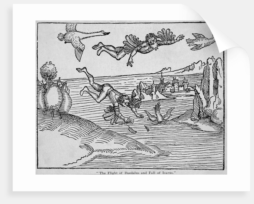 15th-Century Woodcut of the Flight of Daedalus and the Fall of Icarus by Corbis