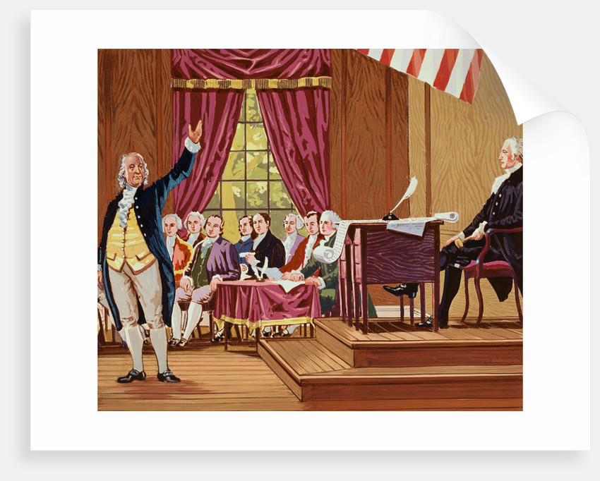 Benjamin Franklin Gesturing and Speaking in Constitutional Convention by Corbis