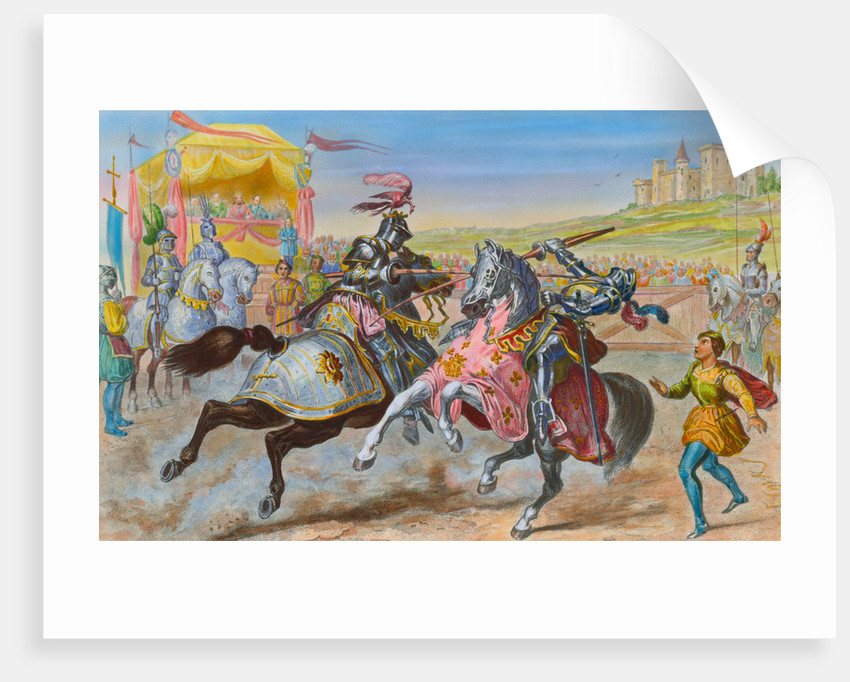 Illustration of Knights Jousting by Corbis