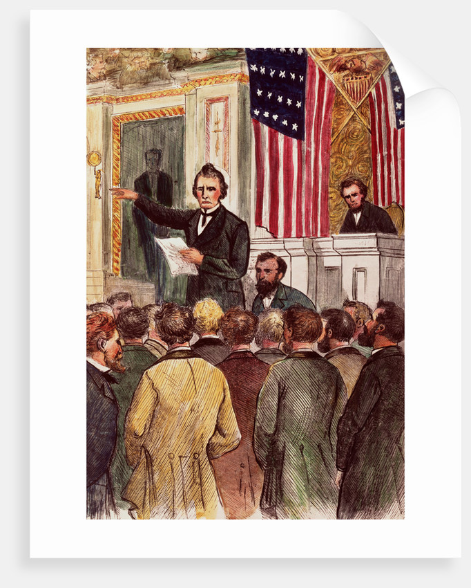 Illustration of Andrew Johnson Impeachment Trial by Corbis