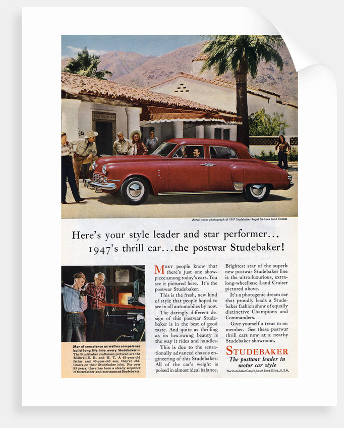Ad for Studemaker Regal Deluxe Land Cruiser by Corbis