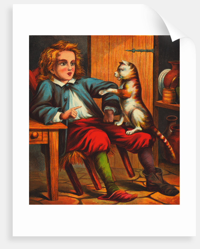 Puss and Boots Conversing with Young Boy by Corbis