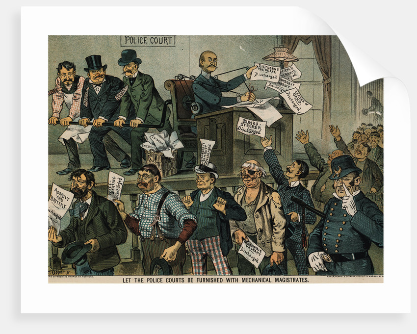 Illustration Depicting Police Court Shortcomings by Oppet