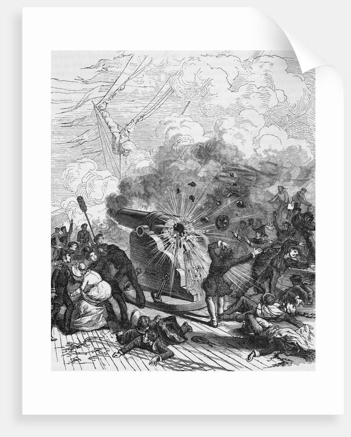 Gun Explosion Aboard Princeton Steamship by Corbis