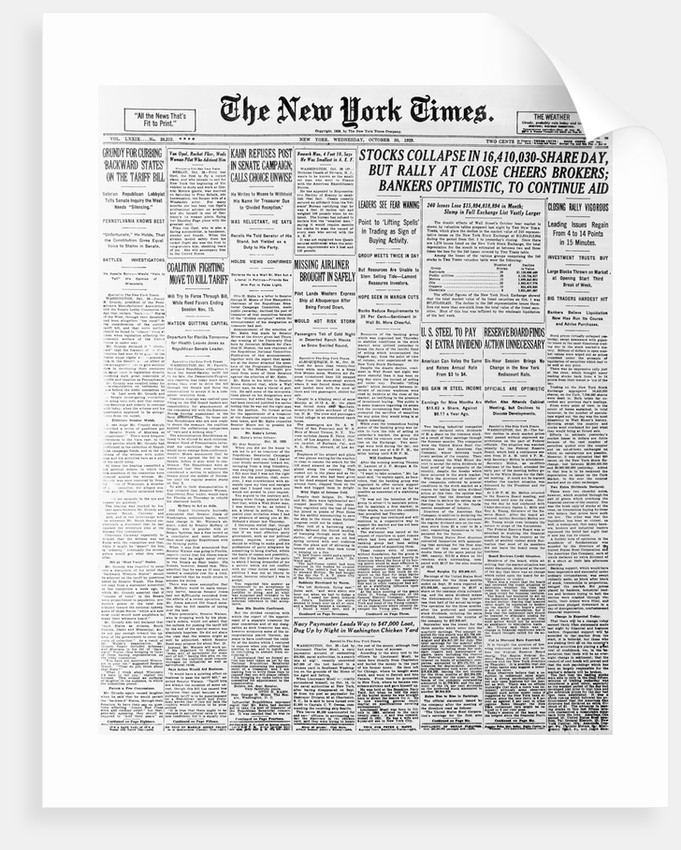 1929 Cover of New York Times Newspaper by Corbis