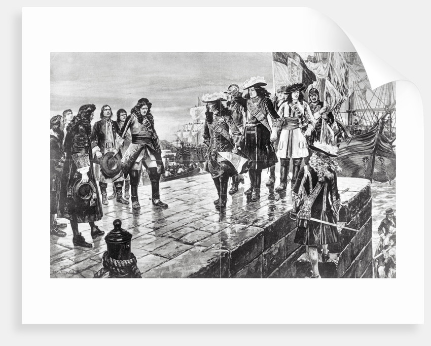 Illustration of William III Leaving Ship with His Party by Richard Canton Woodville