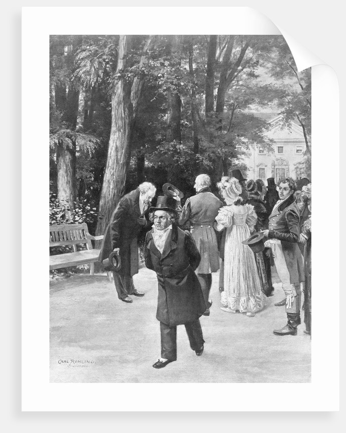 Illustration of Goethe and Beethoven with Crowd Outdoors by Carl Rohling