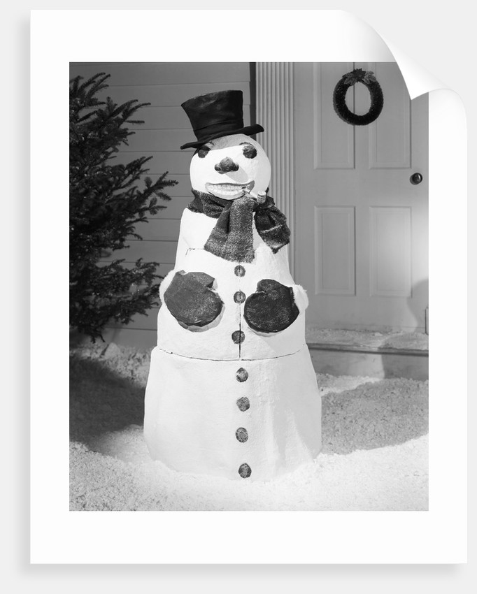 Dapper Snowman Outside a House by Corbis