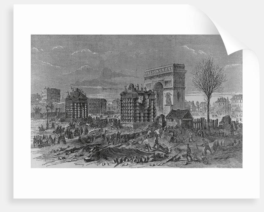 View of Workers Tearing Down Landmarks in Paris by Corbis