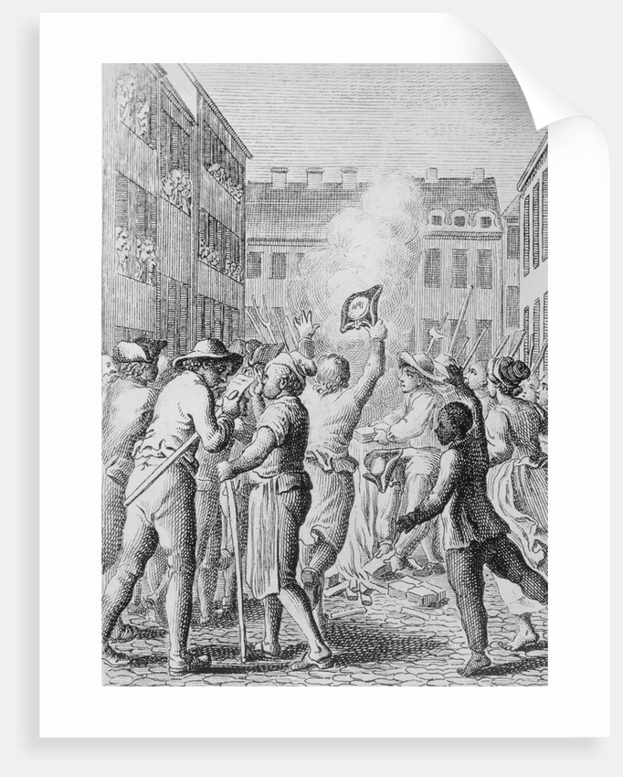Engraving of Colonists Burning Stamp Act Papers by Corbis