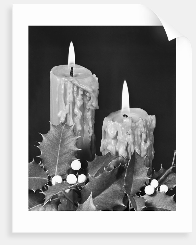 Christmas Candles with Holly Trim by Corbis