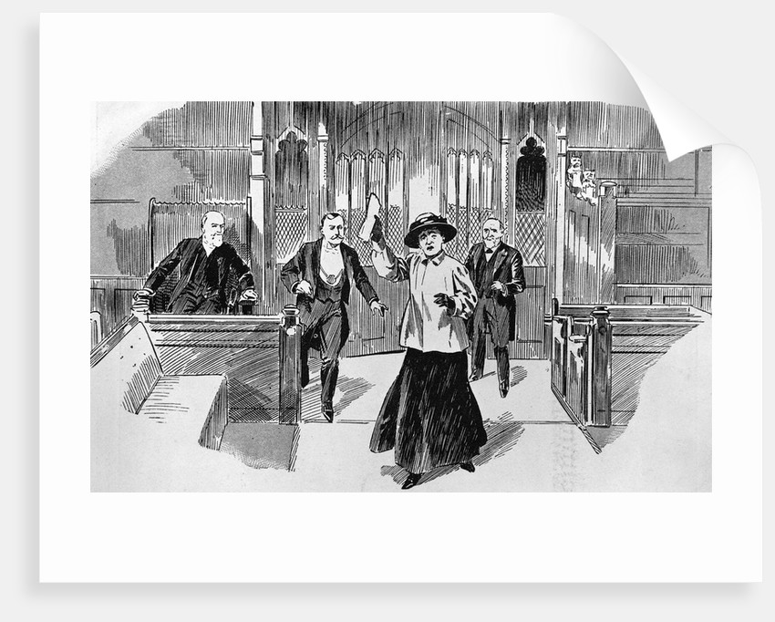 Cartoon of Suffragette in House of Commons by Corbis