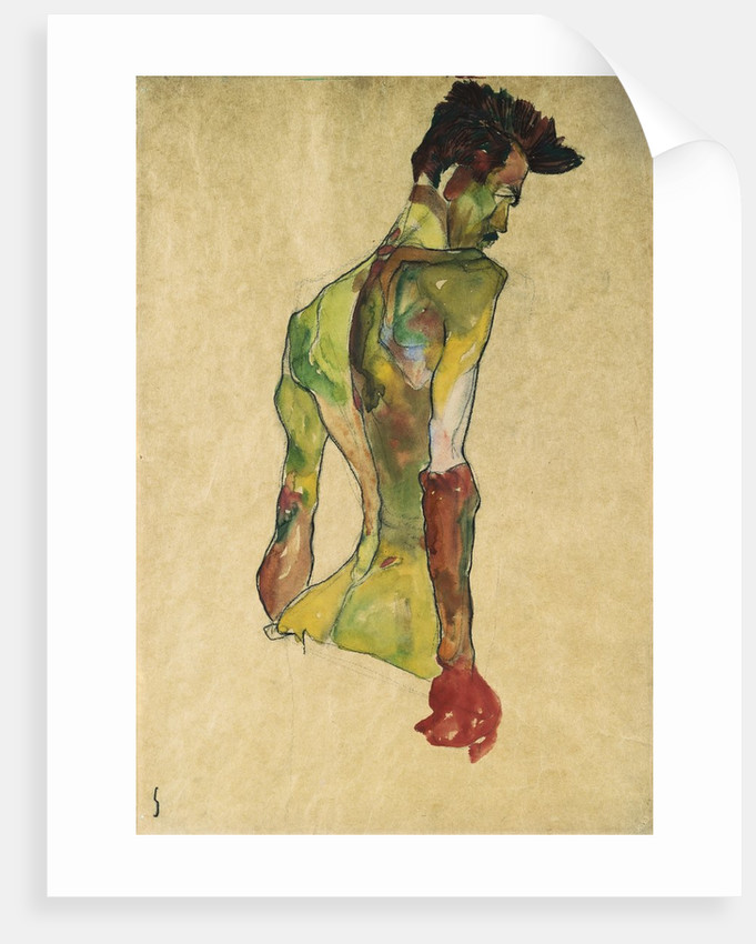 Male Nude in Profile Facing Right posters & prints by Egon Schiele
